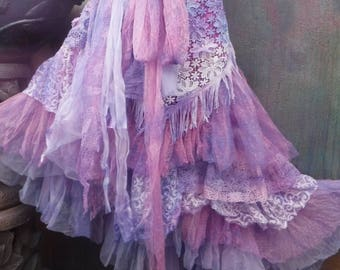 20%OFF RESERVEDwedding, bridal,tattered skirt, boho, fantasy, stevie nicks, bohemian skirt, gypsy skirt,lilac, purple, bellydance,large