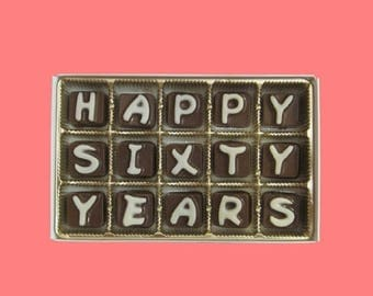 ship AFTER 8/7 60th Anniversary Sixty Years Gift Couple Grandparents Parent Wedding Anniversary Happy 60 Years Cubic Chocolate Letters Uniqu