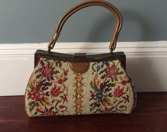 Vintage floral upholstery embroidery style snap purse hand tapestry sixties 60s