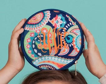 FREE monogramming - Personalized Monogrammed Embroidered EMERSON PAISLEY Round Jewlery Case with inside pockets - navy coral turquoise