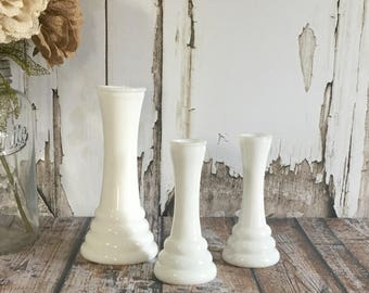 Milk Glass Vases Milk Glass Vase Milk Glass Vase Vintage Milk Glass Wedding Decor Set of 3