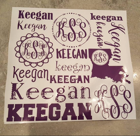 Vinyl sticker name and Monogram 12x12 sheet