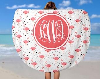 Round Beach Towel Pink Flamingo - Monogram Roundie Beach Towel  - Soft Velour Monogram Beach Towel, Personalized Camp Towel