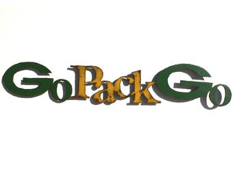 "Packers Go Pack Go logo 45"" wide metal wall art steel green yellow rust patina"