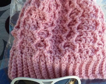 Handmade Honeycomb Cable Beanie Crocheted Hat