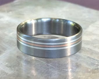 Titanium Triple Element ROSE Gold and Silver Wedding Band Ring