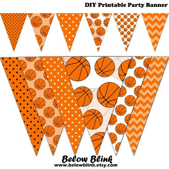 Basketball Banner Baby Shower Printable Banner Basketball Party