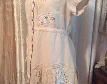 Shabby Tea Stained Shirt, linen romantic altered blouse top, doily lace embellish tunic, womens shabby chic clothes  XL