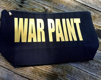 WAR PAINT Large Makeup Bag black and gold
