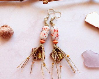 Glass beads earrings orange  bohemian natural