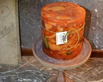 Candle~Pillar Candles~ Artisan Candle~ Super Strong~Pumpkin Burlee~ 6 x 6 Pillar, 3 wicks