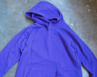 Vtg 90s Purple Hooded Pullover Sweatshirt Size XL Pilly Solid Blank