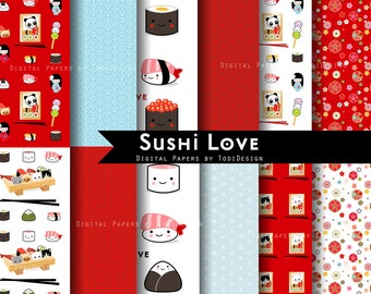 Sushi Love -  INSTANT DOWNLOAD kawaii japanese food Patterns Digital Paper Set, Japanese food, Kawaii food