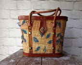 Vintage  Straw and Leather Purse Embroidered Beach Bag