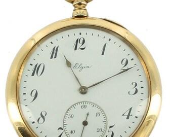 Antique Elgin 14k Gold 19 Jewel Open Face Pocket Watch So Clean Runs Well