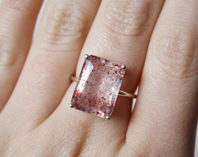 Large Faceted Emerald Cut Fire Quartz Ring in sterling silver - sterling silver fire quartz ring - lepidocrocite - strawberry quartz ring