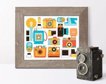 Retro cameras print // retro décor // living room wall art // camera art print // retro camera wall art // gifts for photographer