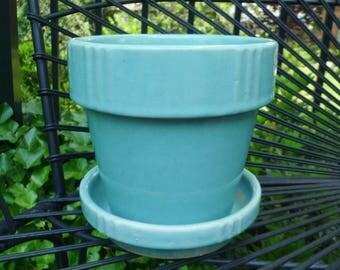 Pottery Flower Pot & Saucer. Aqua Blue. Planter Jardiniere. Vintage 1940s 1950s. Cottage, Garden, Beach House, Mid Century Decor.