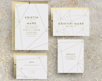 Gold Geometric Wedding Invitation, Gold Wedding, Gold Invites, Modern, Geometric Invitations, Geometric Invites, Gold Geometric
