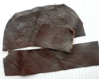 Chocolate Brown Leather Scraps