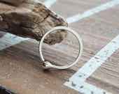 Ball Hoop Earring, 18g Fine Silver, Hammered Earring 12mm ID - Artisan Body Jewelry