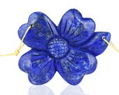 Carved Lapis Lazuli Flower Gemstone Double Hole Pendant ,46x36x8mm,16.1g,-CP543