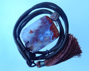 fashion natural agate necklace 51*39*12mm  63.2g , 53cm