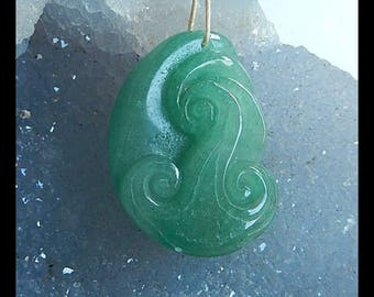 New,Carved Green Aventurine Gemstone Pendant Bead,34x24x12mm,14.7g(Cp060)