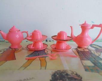Vintage nineteen sixties miniature doll tea set pink rainbow Blythe Barbie size dollhouse tea party one sixth scale