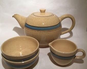 Tea Set English Pottery - FEN - 4 Pieces