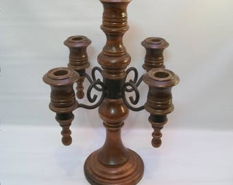 Vintage Wood and Metal Candle Stand, Candelabra with Five Arms, Wedding Decor, Party Supplies, Center Piece, Shabby Chic, Candle Holder