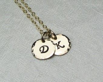 Two Initial Necklace Small Gold Monogram Necklace Gold Personalized Mothers Necklace Gold Personalized Jewelry