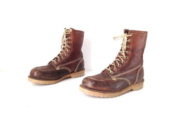 WOMEN'S vintage HIKING boots rugged outdoor boots SIZE 9 10