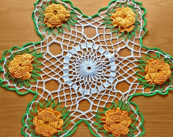 Vintage Crocheted Doily, White Doily with Yellow Orange Flowers and Green Detail, 18 inches