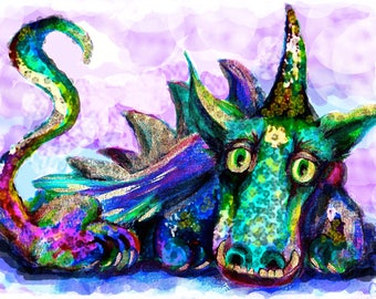 """Dragon Protector-16""""x22""""Print on Canvas-Unframed-Free Shipping"""