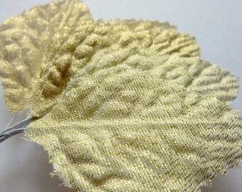 Discount Decorative gold fabric leaves- 1 dozen Fabric leaves - Christmas Decor