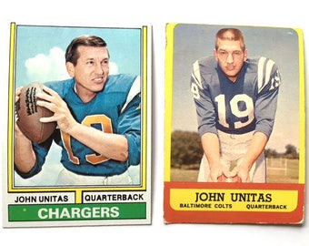 Johnny Unitas, 1964 and 1974 Topps Football Cards