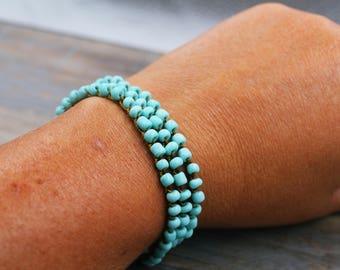 Boho Bracelet, Turquoise Bracelet, Boho Wrap Bracelet, Stackable Bracelet, Beaded Bracelet, Boho Jewelry, Beaded Wrap Bracelet, Torquoise