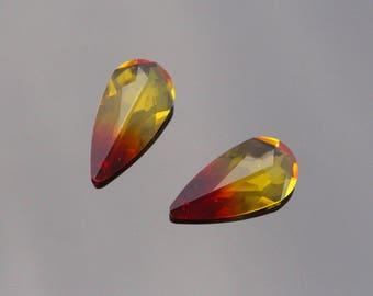 Jewelry Supplies,  Fire Red Teardrop Crystal Drop Pendant, Swarovski Gemstone Pendant, Stone, Bead, Gem, 2 pc, HA807