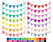 40% OFF SALE Colored Bunting Clip Art, Rainbow Bunting Flags Clipart, Banner Flags Rainbow Clipart, Commercial Use, Instant Download