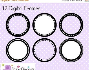 40% OFF SALE Circle Digital Frame Collection 1 - Clip Art Frames - Instant Download - Commercial Use