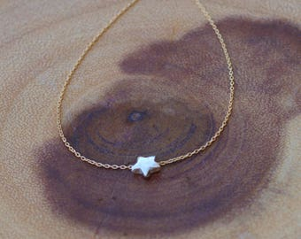 Dainty Star Necklace, Silver Star Necklace, Simple Everyday Necklace, Child's Necklace, Delicate Layering Necklace, 14k Gold Fill