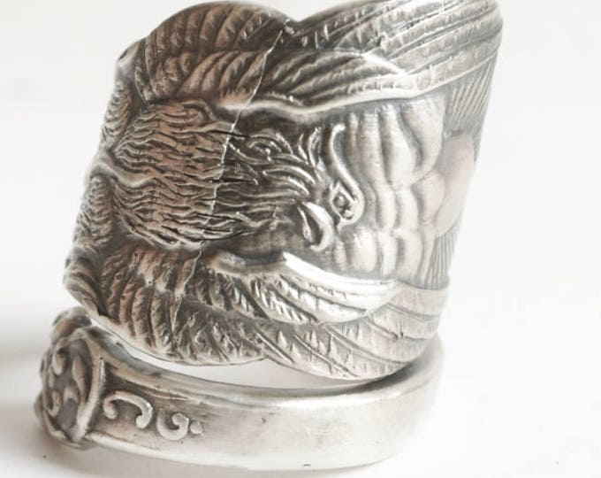 Phoenix Rising Ring, Large Sterling Silver Spoon Ring, Handmade Jewelry, Phoenix Wings, Pheonix, Gift for Him or Her, Adjustable Ring (6728)