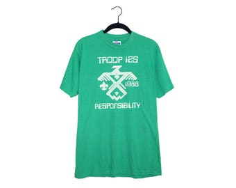 Vintage 1988 Boy Scouts Troop 125 RESPONSIBILITY Bright Green 50/50 Poly-Cotton Blend T-Shirt, Made in USA - Large