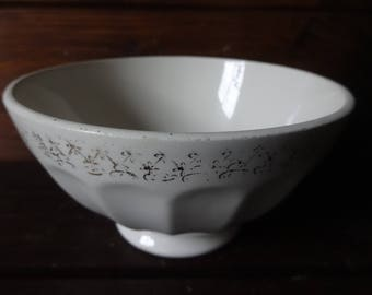 Vintage French traditional cafe au lait breakfast bowl flower decoration circa 1950-60's / English Shop