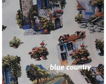 French country home toile pastoral print Rustic CURTAIN panels, primitive farmhouse modern beach cottage chic Bicycle writing curtain panel