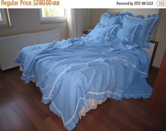 Sale Beach bedding Blue linen duvet cover  - Queen size ruffled linen doona cover - LUXURY romantic cotton lace trimmed- shabby chic bedding