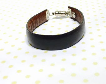 Unisex Cuff Leather Bracelet, repurposed/up cycled, Clear Rhinestone Silver Tone Magnetic Clasp, Hand Made in The USA, Item No. L173