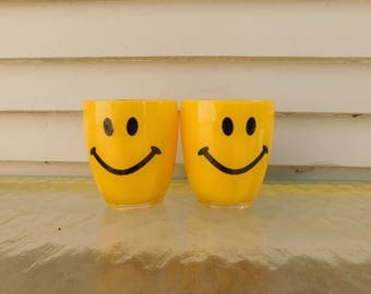 Vintage Yellow Plastic Smiley Face Cups, Retro Tumblers