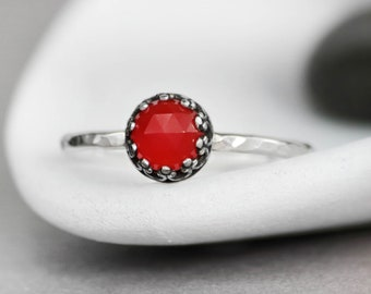Red Onyx Gemstone Promise Ring - Sterling Silver Bezel Set Stacking Ring - Red Gemstone Ring - Red Engagement Ring -December Birthstone Ring